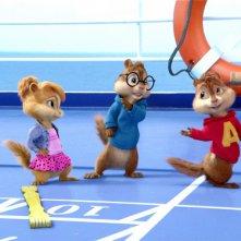 I coloratissimi e simpatici protagonisti di Alvin Superstar 3 - Si salvi chi può! in una scena del film