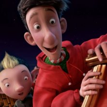 Arthur Christmas: Il figlio di Babbo Natale in 3D, il piccolo Arthur e il suo amichetto sulla slitta di Babbo Natale