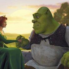 FIona e Shrek in una romantica scena del film Shrek (2001)