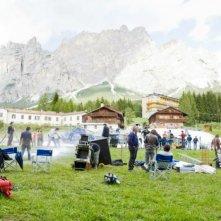 Un'immagine dal set di Vacanze di Natale a Cortina