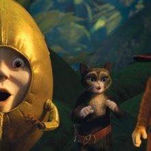 Il gatto con gli stivali: Humpty Dumpty, il gatto con gli stivali e Kitty zampe di velluto in una scena del film