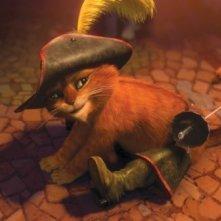 Il gatto con gli stivali: il dolce felino protagonista del nuovo film animato della Dreamworks in una scena