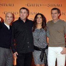 Salma Hayek e  Antonio Banderas presentano il Gatto con gli stivali a Roma con Jeffrey Katzenberg e Chris Miller