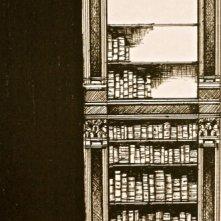 L'Arcano Incantatore - bozzetto scenografia di Giuseppe Pirrotta - particolare della Biblioteca