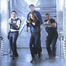 Castle: Jon Huertas, Nathan Fillion, Seamus Dever e Stana Katic nell'episodio Head Case