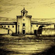Padre Pio: bozzetto della scenografia del convento e della chiesa di G. Pirrotta