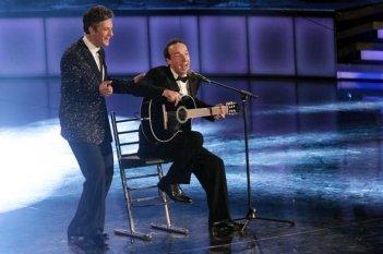 Benigni e Fiorello durante Il più grande spettacolo dopo il week end