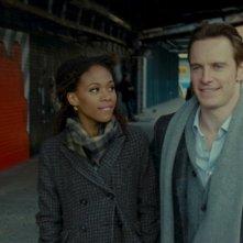 Michael Fassbender in una scena del film Shame insieme a Nicole Beharie