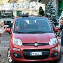 Giuseppe Giacobazzi, Ricky Memphis, Valeria Graci e Katia Follesa in una scena della commedia Vacanze di Natale a Cortina