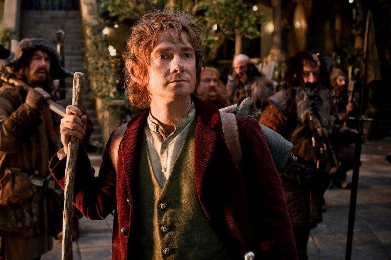 Martin Freeman nei panni di Bilbo in una scena di The Hobbit: An Unexpected Journey