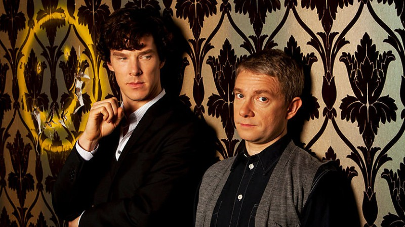 Martin Freeman e Benedict Cumberbatch in un'immagine della seconda stagione di Sherlock