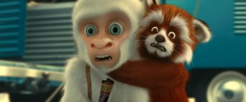 Fiocco di neve con uno dei suoi amici, un panda rosso nel film 'Copito de Nieve'.