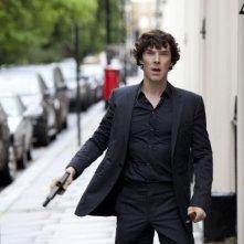 Sherlock: Benedict Cumberbatch in una scena dell'episodio A Scandal in Belgravia