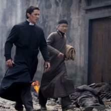 The Flowers of War: Christian Bale in una scena del film