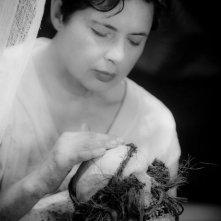 Isabella Rossellini accarezza un teschio umano in una scena del thriller drammatico Keyhole