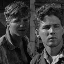 Jeff Bridges e Timothy Bottoms in un bel doppio primo piano de L'ultimo spettacolo