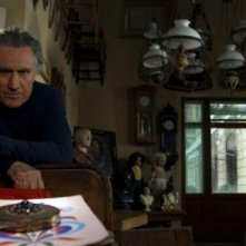 Lando Buzzanca sul set della serie di Rai Uno, Il restauratore