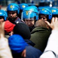 A.C.A.B.: Marco Giallini in una scena del film nei panni del celerino 'Mazinga' cerca di calmare la folla