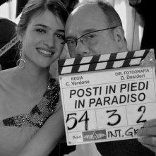 Carlo Verdone insieme a Nadir Caselli sul set di Posti in piedi in Paradiso