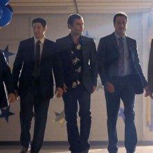 Jason Biggs, Chris Klein, Thomas Ian Nicholas, Seann William Scott e Eddie Kaye Thomas in una scena di American Pie - Ancora insieme