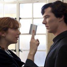 Un duro confronto tra Benedict Cumberbatch e Katherine Parkinson in The Reichembach Fall