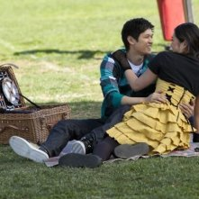 Glee: Jenna Ushkowitz e Harry Shum jr. in una scena dell'episodio Sì/ No