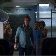 Ryan Kwanten circondato dagli altri interpreti dell'horror 7500