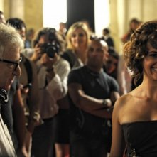 Marta Zoffoli sul set di Nero Fiddled accanto a Woody Allen