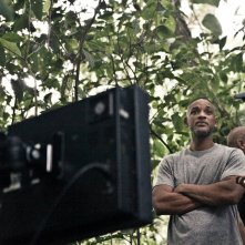 Will Smith e un'imponente macchina da presa sul set di After Earth