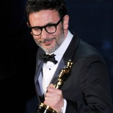 Oscar 2012: Michel Hazanaviicius, regista di The Artist, viene premiato con l'Oscar per il miglior film