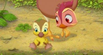 Leafie - La storia di un amore: la coraggiosa gallina protagonista col suo pulcino in una scena del film