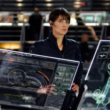Cobie Smulders in azione nei panni di Maria Hill in The Avengers