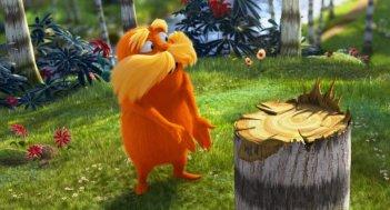Lorax - Il guardiano della foresta: Lorax che protesta a nome di tutti gli alberi di Truffula per il disboscamento iniziato da Onceler