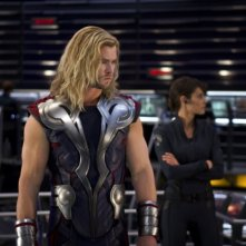 Chris Hemsworth in una scena di The Avengers
