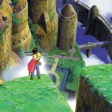Il castello nel cielo: una bellissima immagine dall'alto dell'isola di Laputa in una scena del film
