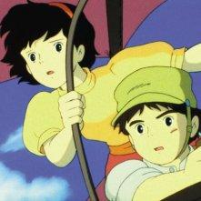 Pazu e Sheeta protagonisti del film d'animazione Il castello nel cielo