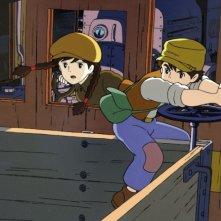 Pazu e Sheeta sul trenino della miniera in una scena del film Il castello nel cielo