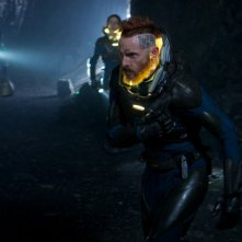 Prometheus: Sean Harris in una scena d'azione del film