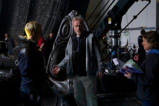 Ridley Scott sul set di Prometheus