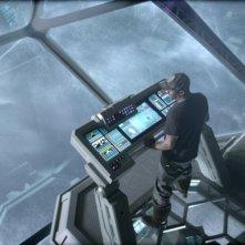 Idris Elba alla guida dell'astronave in una scena di Prometheus