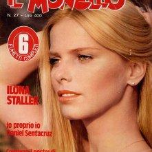 Ilona Staller irriconoscibile, sulla copertina de Il Monello (1980)