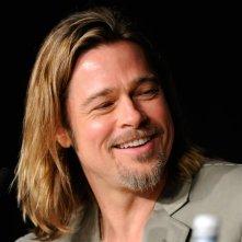 Un primo piano di Brad Pitt nel corso della conferenza di Killing Them Softly