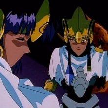 Nadia con l'imperatore Neo in una sequenza dell'ultimo episodio de Il mistero della pietra azzurra