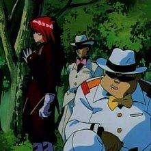 Una scena di gruppo dell'episodio L'isola di Marie della serie-tv Il mistero della pietra azzurra