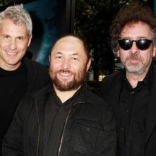 La leggenda del cacciatore di vampiri: il regista Timur Bekmambetov insieme ai produttori Tim Burton e Jim Lemley a New York City per la premiere mondiale