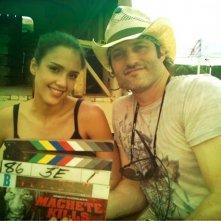 Jessica Alba e Robert Rodriguez sul set di Machete Kills
