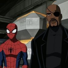 Spider-Man e Nick Fury in una scena della serie animata Ultimate Spider-Man