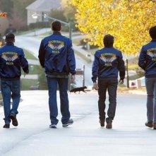 Vicini del terzo tipo: Richard Ayoade, Ben Stiller, Vince Vaughn e Jonah Hill di spalle in una divertente scena