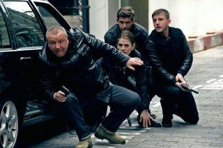 The Sweeney: i protagonisti Ray Winstone, Ben Drew, Hayley Atwell e Allen Leech in una scena