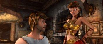 Gladiatori di Roma: Timo in una scena del film insieme alla provocante Diana